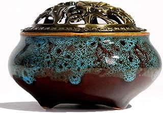 香炉 丸香炉 お香立て付 仏具 仏壇用 禅 香道 陶磁器 アロマポット リラックス 心を落ち着かせてくれる 直径10cm (ブルー)