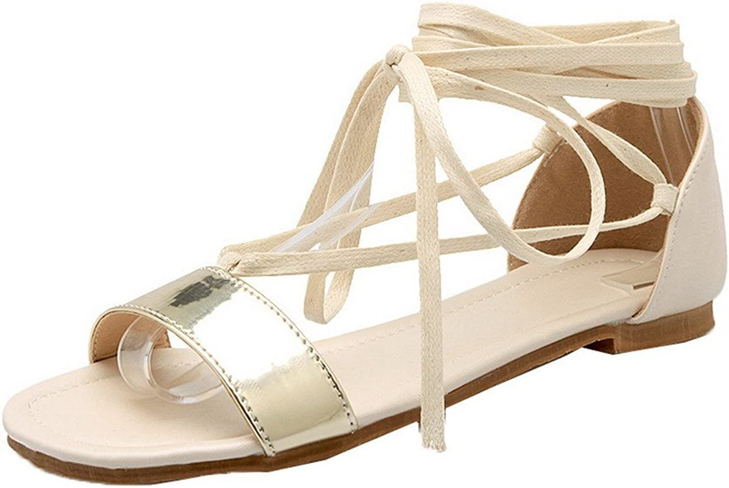 WeiPoot Women's Open-Toe Lace-up Pu Solid Low-Heels Sandals, EGHLH006548
