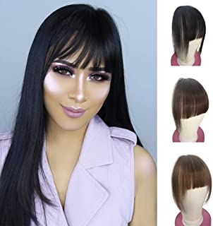 Shinon Clip Bangs Human Hair Extension 10A Wispy Hair Bangs with Temple 1b Black Color