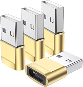 USB C Female to USB Male Adapter 4-Pack,Type C to USB A Charger Cable Adapter,Compatible with iPhone 11 12 13 Pro Max,iPad 2020,Samsung Galaxy Note 10 S20 Plus S20+ Ultra,Google Pixel 4 3 2 XL (Gold)