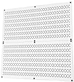 Pegboard Rack Wall Control Home & Garage Tool Storage & Organization White Metal Pegboard Pack - Two 32-Inch x 16-Inch White Steel Peg Board Panels