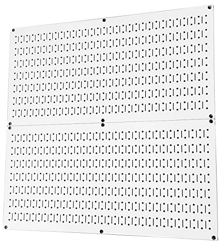 Pegboard Rack Wall Control Home & Garage Tool Storage & Organization White Metal Pegboard Pack - Two 32-Inch x 16-Inch White Steel Peg Board Panels