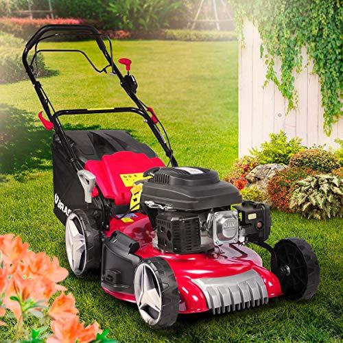 BRAST Tondeuse thermique autotractée 51cm 224cc moteur de marque 4 temps 7cv 60l réglage central 30-80mm, capot en tôle en acier, 4 en 1, édition rouge