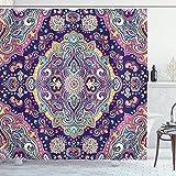 wanshangcheng Ethnic Shower Curtain, Boho Style Mandala Colorful Spring Garden Themed Old Fashioned...