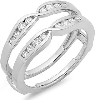 Anillo doble de oro de 14 quilates con diamantes redondos de 0,45 quilates para aniversario de boda o aniversario, 1/2 ct