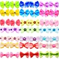 YOY 40pcs / 20 Pairs Adorable Grosgrain Ribbon Pet Dog Hair Bows with Rubber Bands - Puppy Topknot Cat Kitty Doggy Grooming Hair Accessories Bow Knots Headdress Flowers Set for Groomer