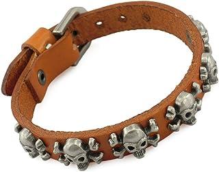 ZMY Fashion Skull Jewelry Bracelets, Crossbones Skull Charm Leather Bracelet for Bikers