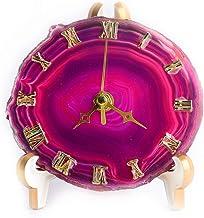 JIC Gem Natural Agate Crystal Stone Clock Home Decoration Best Gift for Desk (Pink)