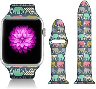 FTFCASE Sport Bands Compatible with iWatch 38mm/40mm Aztec Tribal Elephant, Flower Printed Soft Silicone Strap Replacement for iWatch 38mm/40mm Series 4/3/2/1 Women Men