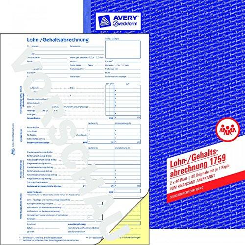 AVERY Syfteform 1759 löneavräkning (A4, självskrivande, för Tyskland, kontrollerad av lagliga experter och erkända av finansbyrån, 2 x 40 ark) vit/gul