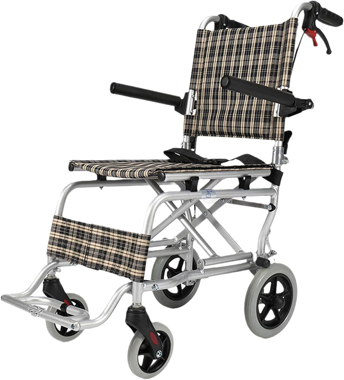 Super Light sale Folding Transport Chair Brake Tulsa Mall with Up Fold Pedalport