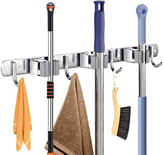 Futnbe Broom Holder Wall Mount Broom Mop Holder Heavy Duty Stainless Steel Mop Holder with 3 Racks 4 Hooks for Laundry Roo...