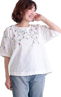 [サワ アラモード] ボタニカル 柄 刺繍 半袖 コットン ブラウス レディース