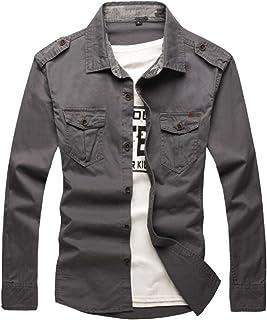 West Louis Men's Modern Army Style Shirt Military Button Down Cargo Shirt