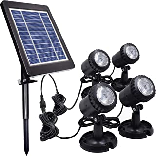 Solar Powered Underwater Night Light, PChero 4 Submersible Warm White Lamps Landscape Spotlight for Garden Pool Pond Outdoor Fountain Waterfall Decoration