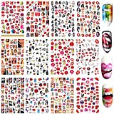 Bad Girl Nail Art Stickers Decals Nail Art Supplies Valentines Day 3D Self-Adhesive Nail Decorations Accessories Fashion Manicure Designs Sexy Lips Cool Girl Self Adhesive 12 Sheets