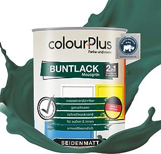 holzfarbe innen colourPlus 2in1 Buntlack 750ml, RAL 6005 Moosgrün seidenmatter Acryllack - Lack für Kinderspielzeug - Farbe für Holz - Holzfarbe Innen - Made in Germany