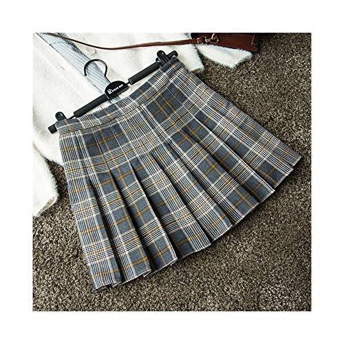 Falda plisada a cuadros para mujer, primavera y otoo, falda de cintura alta, falda de viento universitaria, falda de palabra (color: cuadrcula sallow, tamao: M)