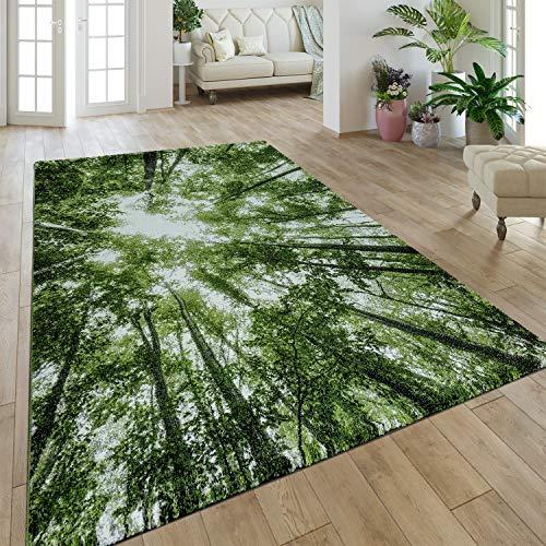 Paco Home Tapis Poils Ras Moderne Végétation Nature Effet Forêt Aspect Vert Blanc, Dimension:120x170 cm