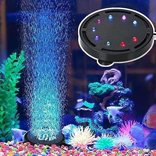 水族館エアストーン 気泡ライト アクアリウムライト 多色LED水槽ライト エアーポンプ 熱帯魚ライト 水槽用空気石 酸素補給 水槽装飾 気泡盤 吸盤式 丸形 (12粒のLEDランプ)