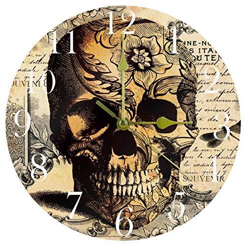 TIKISMILE Tatoo - Reloj de pared con diseño de calavera con fondo floral, silencioso, no pinchazos, acrílico, redondo, para oficina, escuela, sala de estar, dormitorio, decoración del hogar