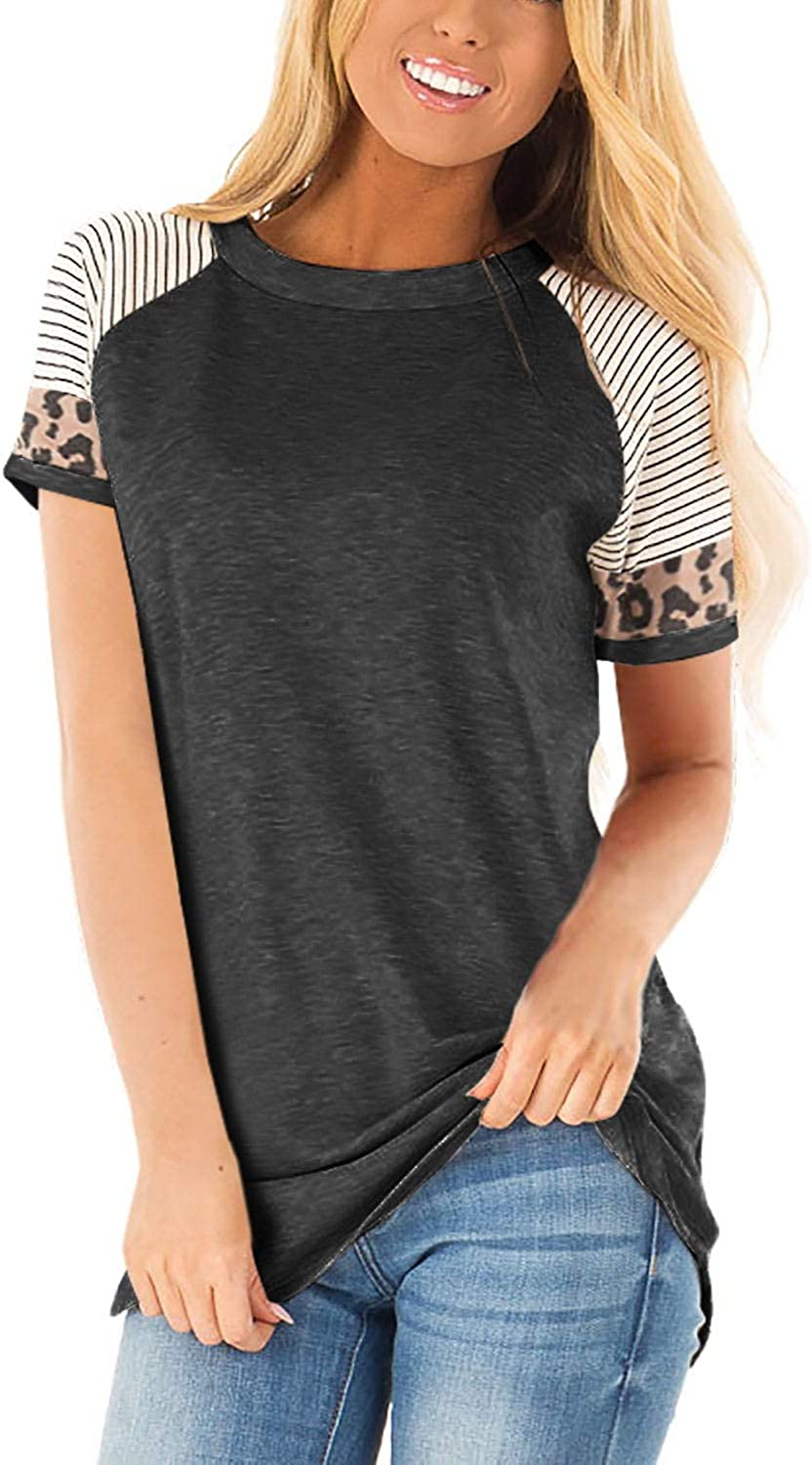 CoolooC Womens Casual T Shirts Short Sleeve Color Block Leopard Striped Tunic Tops