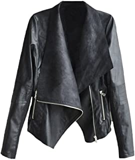 JESPER Fashion Vintage Women Biker Motorcycle Leather Waterfall Collar Zipper Jacket Coat