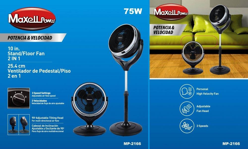 Maxell Power MP2166 - Ventilador de Sobre Mesa y de Pie, 75W, 25.4 ...