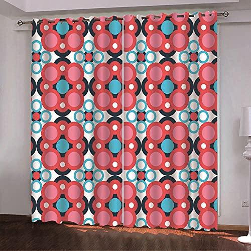 ZZYLCDT Cortinas Opacas Patrón Creativo de Lunares Azul Rojo Cortina Decorativa Opaca con Ojales, Estilo Simple y Elegante, para Salón, Habitación y Dormitorio 85x200cm x2