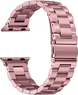 HILIMNY Compatible for Apple Watch Band 38mm 40mm 42mm 44mm, Classic Men Women Stainless Steel Metal iWatch Strap Replacement Wristbands for Apple Watch Series 1, 2, 3, 4