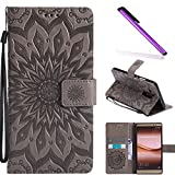 HMTECH Huawei Mate 8 case Sun Flower Embossed Floral Wallet Case with Card Cash Slots Kickstand Premium PU Leather Flip Stand Cover Stylus Pen for Huawei Mate 8 KT Mandala Gray