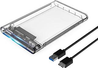 ORICO USB 3.0 2.5 Inch Caja Disco Duro Externo, SATA 3.0 a USB 3.0 5 GB/s, Transparente para HDD/SSD de 7mm y 9.5mm (Sopporta UASP), Libre de Herramienta, LED Indicador