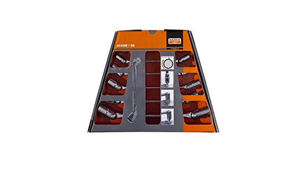 Bahco 4040M//S6 BH4040M//S6 Ended Flex-Head Wrench Metric Double Hex in Cardboard Box Silver//Orange Set of 6 Pieces