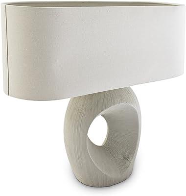 Relaxdays 10019056 Lampe de table Ceramy Lampe de Table/Chevet avec Abat-Jour Céramique/Tissu de Lin Blanc 55,5 x 55 x 20cm blanc