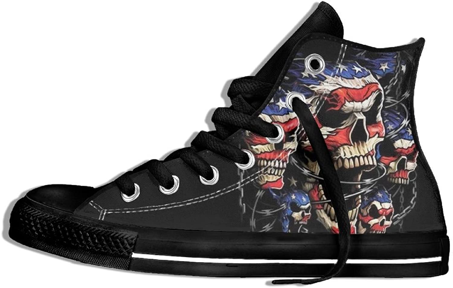 Unisex High Top Sneakers shoes America Skull Flag Lace Up Anti-slip Canvas Casual Sports Trainers shoes