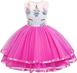 WonderBabe girl rainbow unicorn princess dress prom dress sleeveless floral party dress kid girl tutu dress child cosplay ...