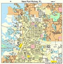 Image Trader Large Street & Road Map of New Port Richey, Florida FL - Printed poster size wall atlas of your home town