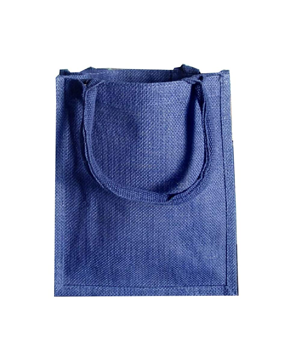 とらえどころのないとらえどころのない読書をするジュート/黄麻布トートバッグ ソフトコットンハンドル ラミネート加工 12個パック S ブルー