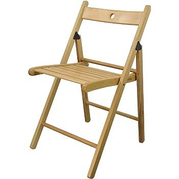 Chaises en bois pliantes couleur bois naturel lot de 4