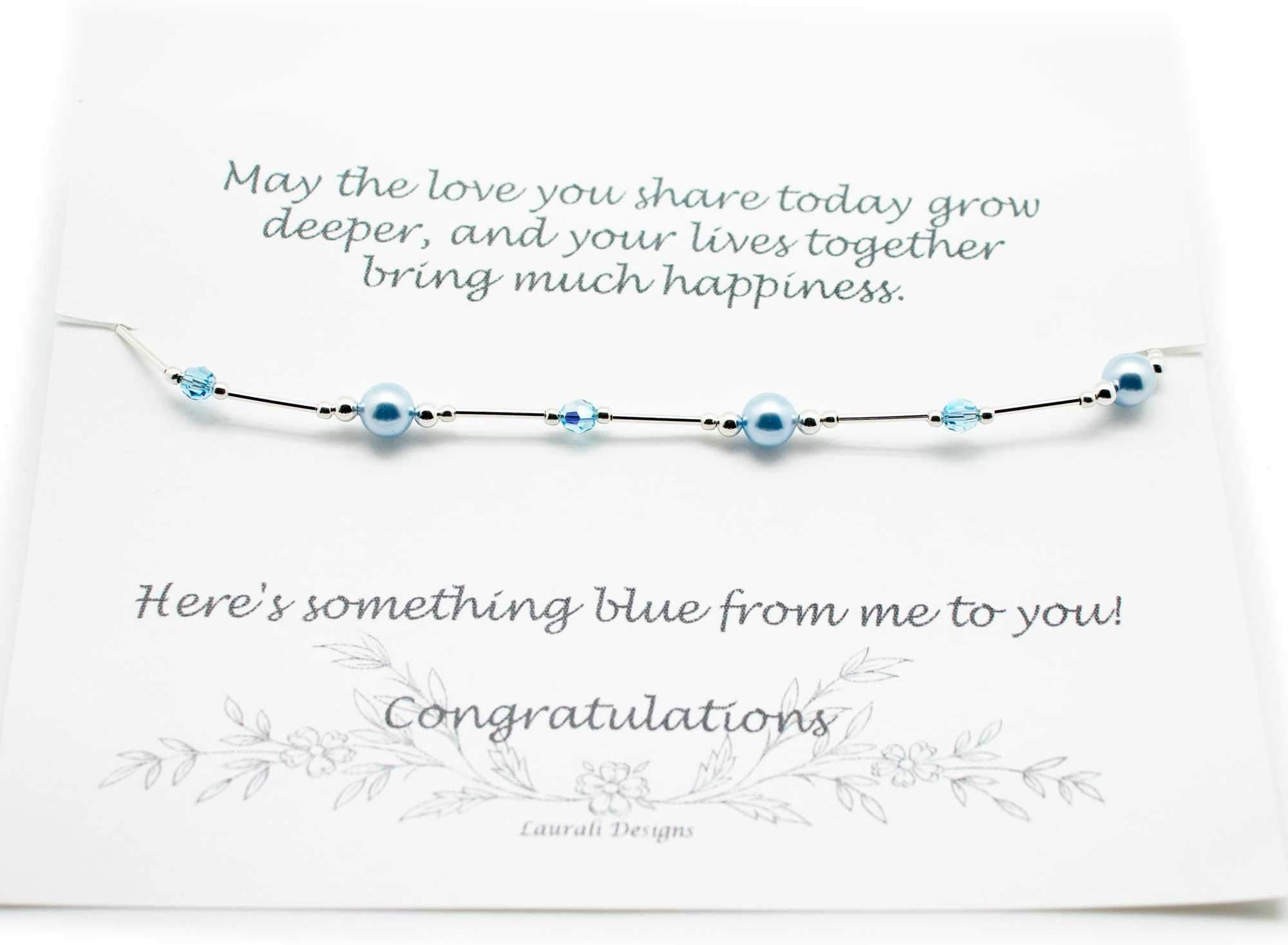 Elastic pearl bracelet Bridesmaid bracelet Bridesmaid thank you gift Beach wedding Bridal jewelry Something blue wedding bracelet