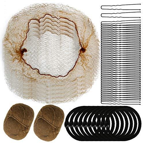 40pcs Hair Nets, YGDZ Invisible Hair Nets Elastic Edge Mesh for Women Girls Ballet Dance Bun Net, 10 Hair Bands & 40pcs U-Shaped Bobby Pins (Light Coffee)