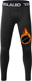 TELALEO Boys Compression Leggings Thermal Fleece Base Layer Tights Cold Gear Pants