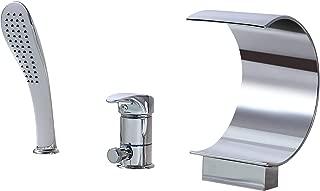 AUXO Roman Waterfall Tub Filler Faucet Single Handle 3-Hole Deck Mount Widespread Bathroom Bathtub Faucet with Handheld Shower, Chrome