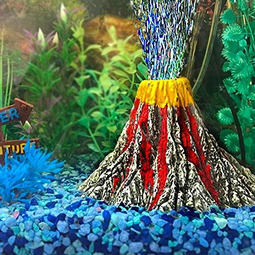 Aquarium Vulkan Ornament Kunstharz-Fisch-Behälter Luftsprudler Dekoration Unterwasserlandschaft Vulkan Aquarium Simulation Landschaft mit LED-Licht Luftsprudler Stein Kit für Aquarium Dekoration L