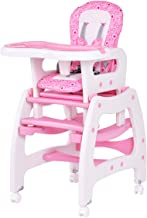 Costzon Baby High Chair, 3 in 1 Convertible Play Table Set, Booster Rocking Seat with Removable Feeding Tray, 5-Point Harness, Lockable Wheels (Pink)