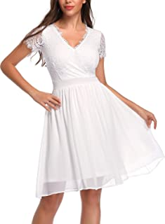 Women Floral Lace Cross V Neck Pleated Sewing Skater Dress for Party