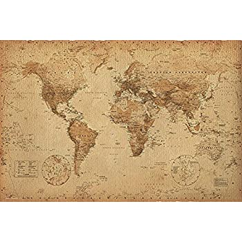 Close Up Póster Mapa del Mundo Estilo Retro/Antiguo (91,5cm x 61cm): Amazon.es: Juguetes y juegos
