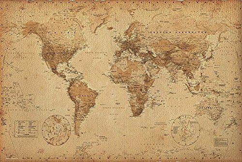 Close Up Póster Mapa del Mundo Estilo Retro/Antiguo (91,5cm x 61cm)