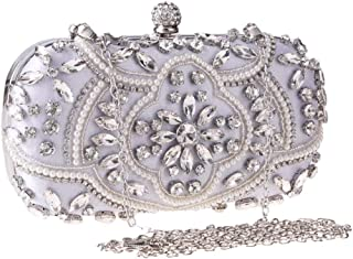 FengheYQ Women's New Clutch Beads Banquet Bag Shoulder Chain Bag Wild Dress Wedding Party Bridesmaids Rhinestone Crystal Evening Bag Clutch Size: 18.5 * 5 * 10cm (Color : White)