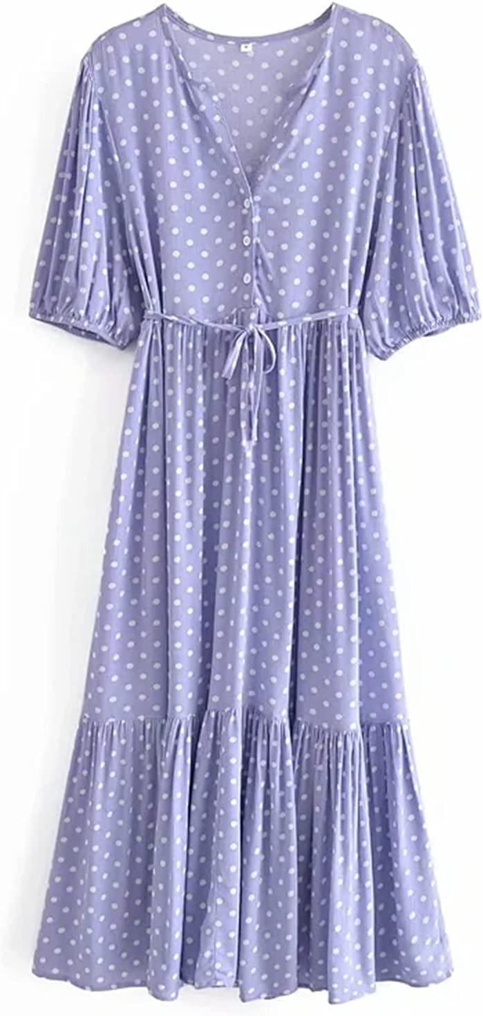 Women Sweet Challenge Latest item the lowest price of Japan Polka Dots V-Neck tie Dress Long Cascading Ruffle S